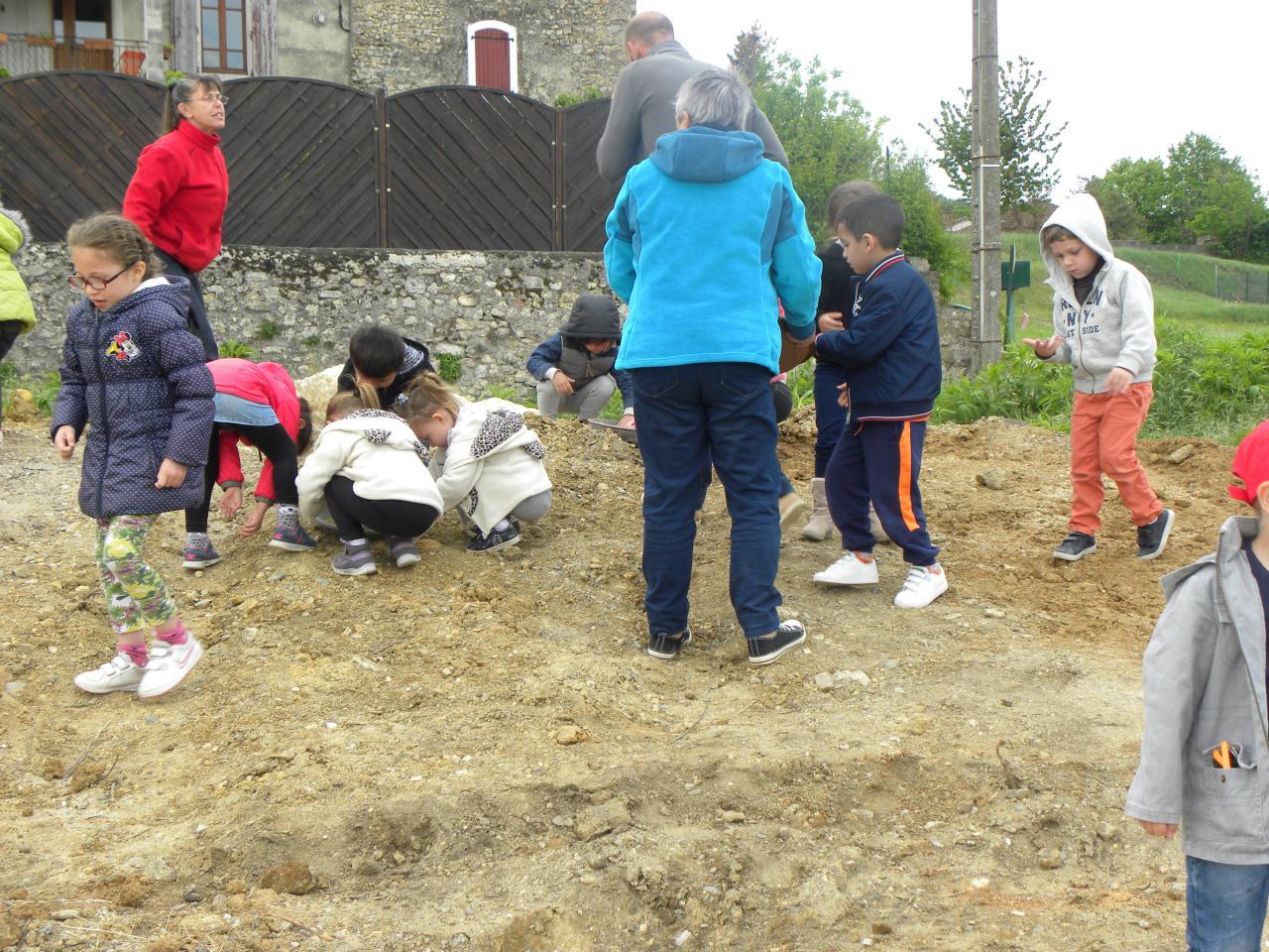 Plantation de graines mellifères par les enfants des écoles de Cardet, Lezan et Lédignan.