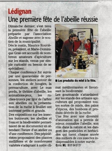 Article Midi Libre fête abeille Lédignan